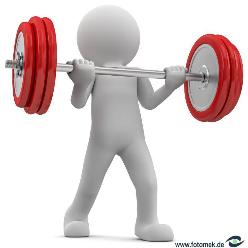 3d Männchen im Fitnessstudio beim Training, trainiert Gewichtheben.