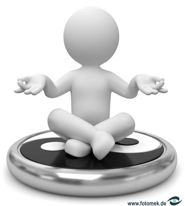 3d Männchen Yin Yan meditation