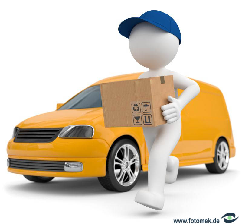 3d Männchen liefert mit gelbem Transporter Pakete aus