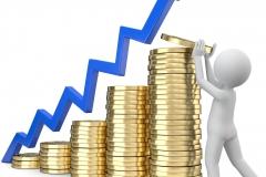 Männchen stapelt das Geld blauer Pfeil Statistik
