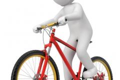 weisses 3d Männchen mit Fahrrad