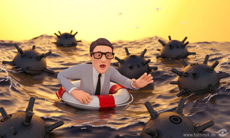 3d Businessman Untergang Gefahr Bedrohung