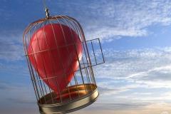 roter Luftballon gefangen