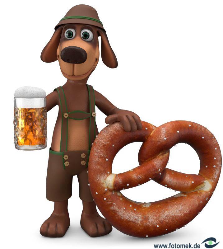 3d Hund mit Bier und Breze in Lederhose auf dem Weg zum Oktoberfest