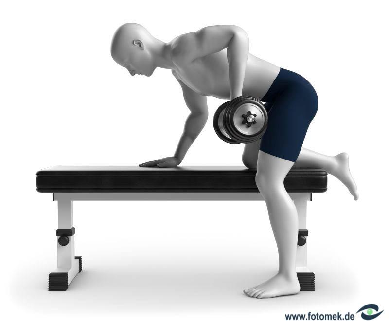 3d Mann beim Fitnesstraining mit hantel auf fitnessbank