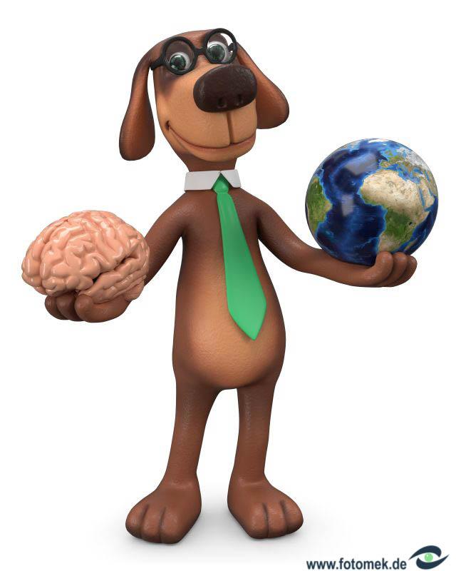 3d Hund macht sich über die ganze Welt gedanken.