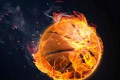 Basketball in Flammen