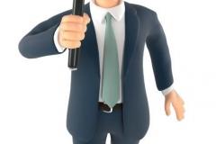 Businessman mit Lupe beim Begutachten