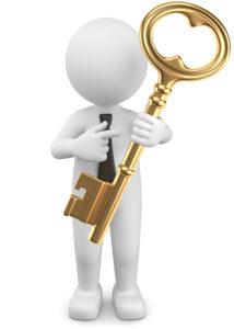 3d Männchen zeigt auf goldenen Schlüssel