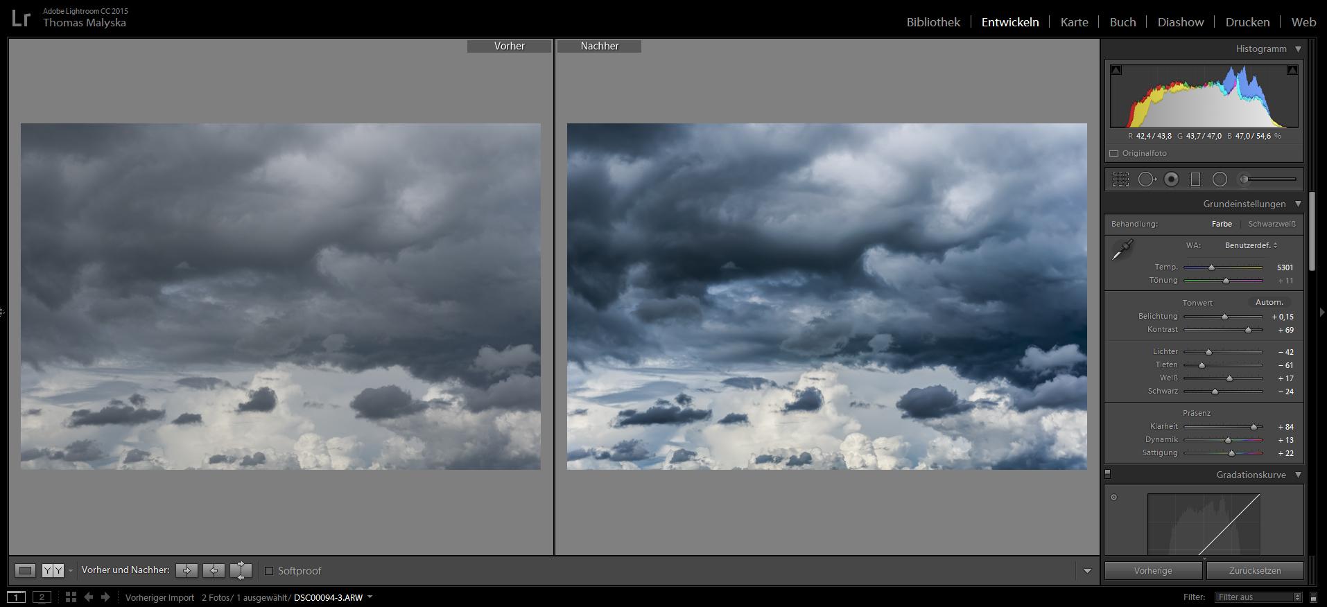 Lightroom Einstellung für Wolkenbild