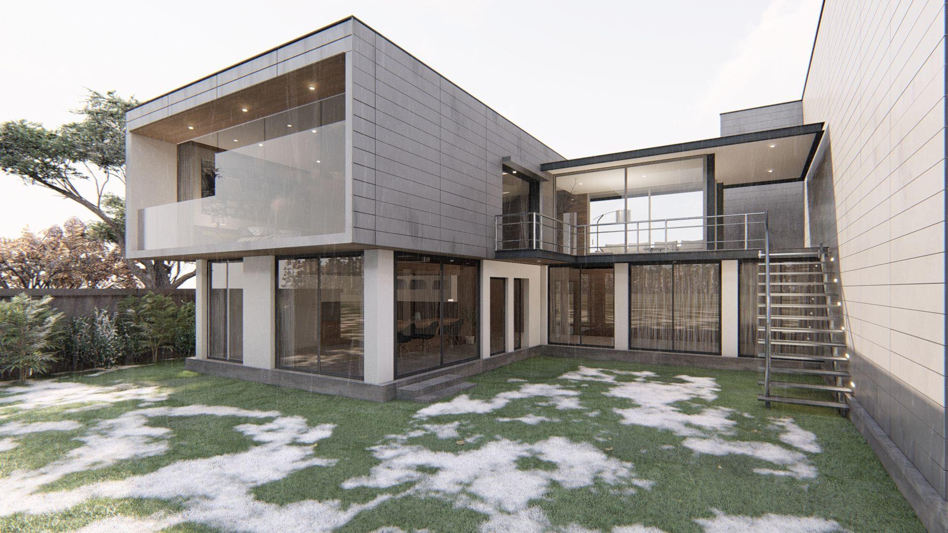Modernes Haus im Winter